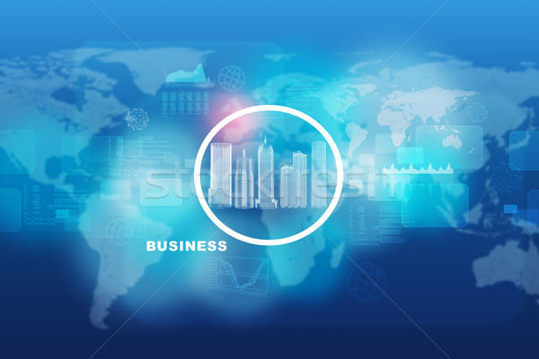город модель Мир карта аннотация синий здании Сток-фото © cherezoff