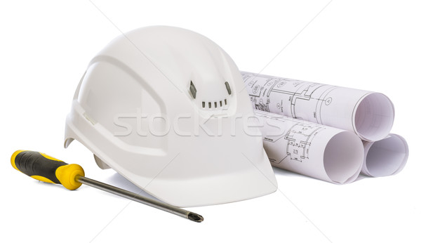 Safety helmet and screwdriver on white Stock photo © cherezoff