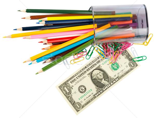 Pénz zsírkréták papír textúra zöld pénzügy Stock fotó © cherezoff