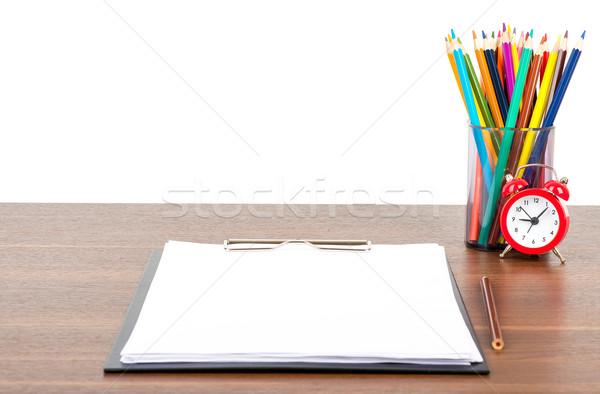 карандашей карандашом Кубок папке будильник таблице Сток-фото © cherezoff
