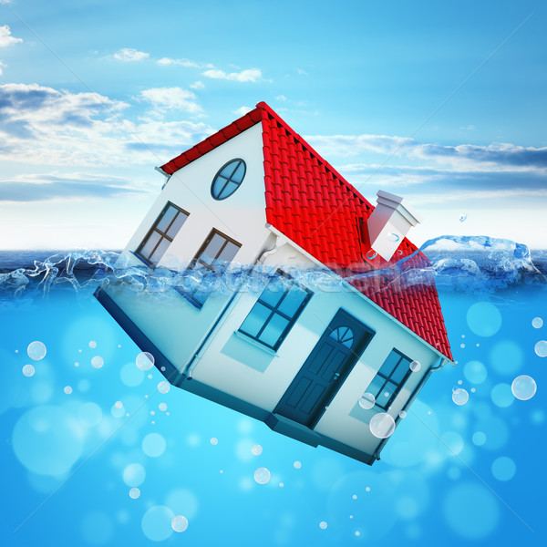 House drowning in sea Stock photo © cherezoff