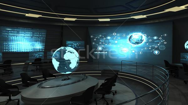 Futurisztikus iroda holografikus belső kilátás sötét Stock fotó © cherezoff