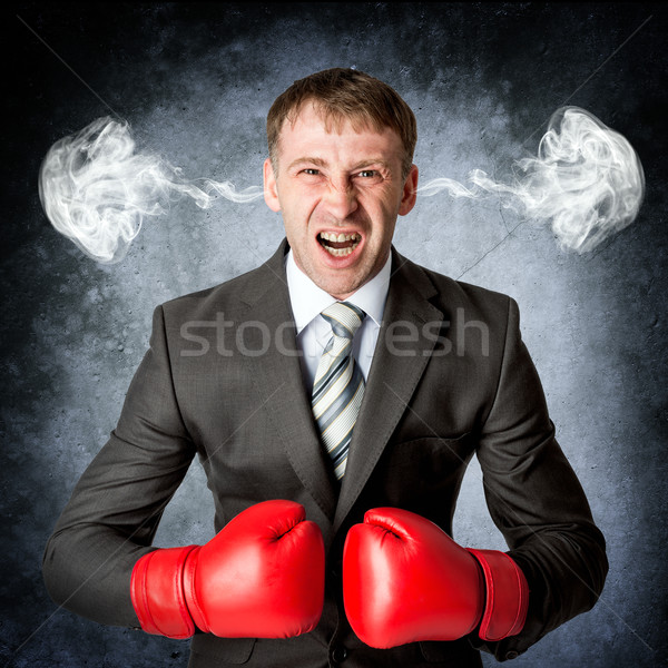 деловой человек ярость дым голову эмоций бизнеса Сток-фото © cherezoff