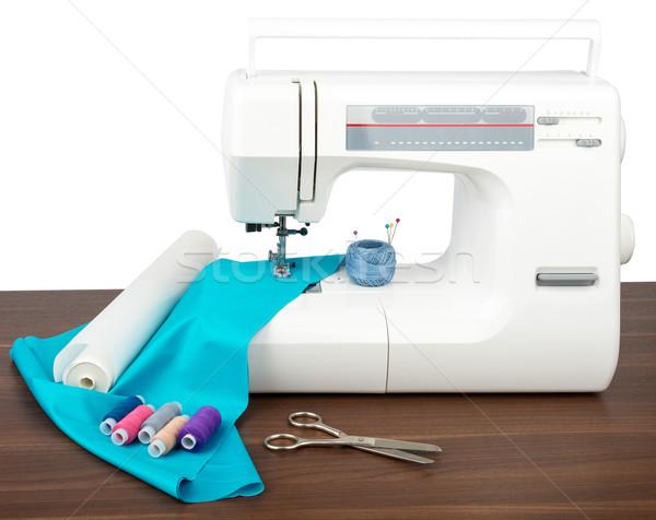 Kleermaker workshop naaimachine nieuwe doek schaar Stockfoto © cherezoff