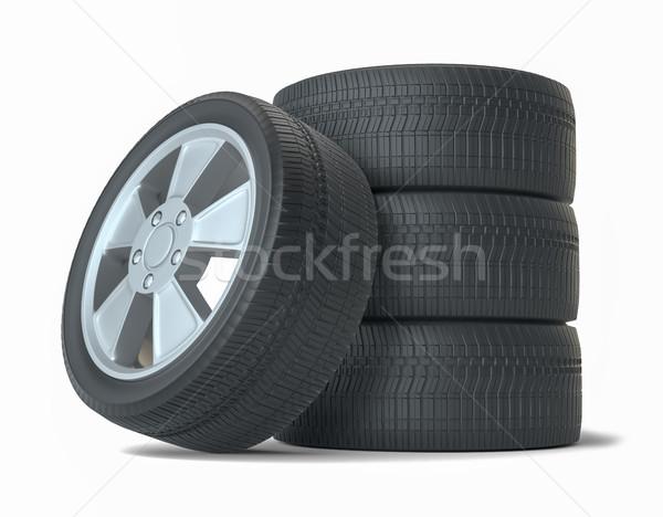 Сток-фото: высокий · качество · автомобилей · Колеса · изолированный · белый