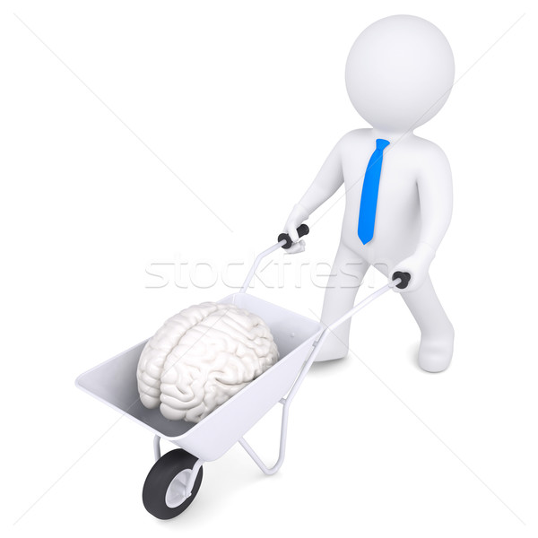 3D beyaz adam el arabası beyin yalıtılmış vermek Stok fotoğraf © cherezoff