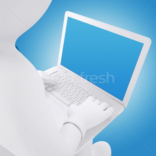 3D blanke man werken laptop man vergadering Stockfoto © cherezoff