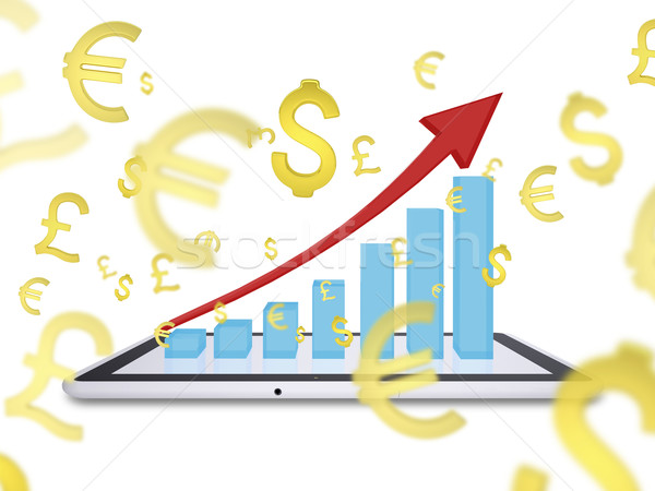 Growth chart on screen tablet pc Stock photo © cherezoff