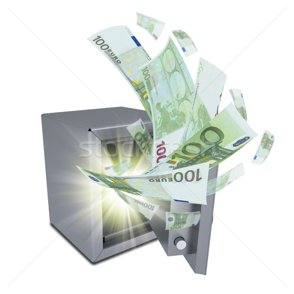Euro banknotes are emitted from an open safe Stock photo © cherezoff