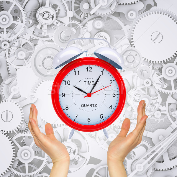 Hands hold alarm clock with gears Stock photo © cherezoff