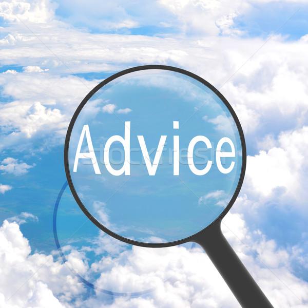 Lente di ingrandimento guardando consiglio nubi business luce Foto d'archivio © cherezoff