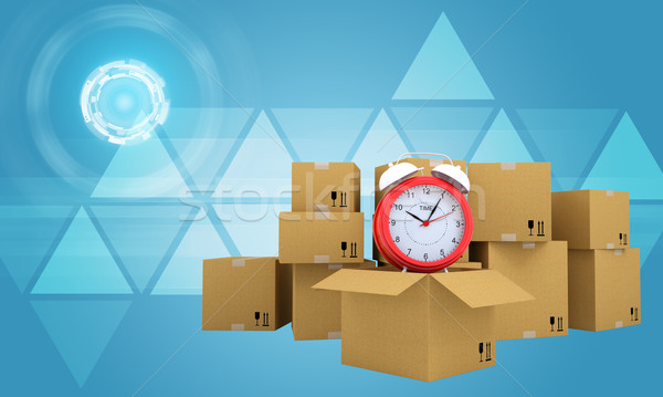 Postal boxes on them alarm clock. Backdrop of earth combines information Stock photo © cherezoff