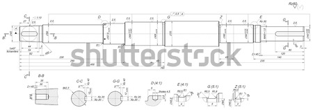 Expanded shaft sketch with threads Stock photo © cherezoff