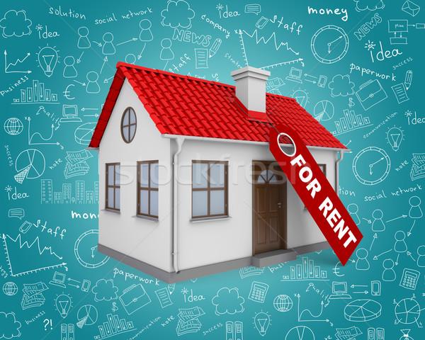 Casa alquilar inmobiliario signo pequeño casa Foto stock © cherezoff
