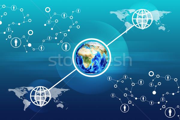 Terra abstrato azul mapa do mundo elementos imagem Foto stock © cherezoff