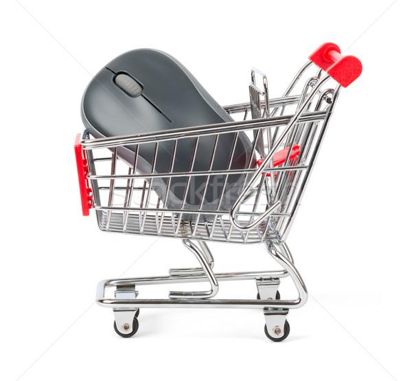 Computermuis winkelwagen zijaanzicht geïsoleerd witte papier Stockfoto © cherezoff