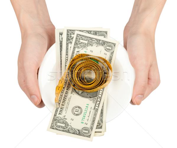 手 ソーサー 現金 孤立した 白 ストックフォト © cherezoff
