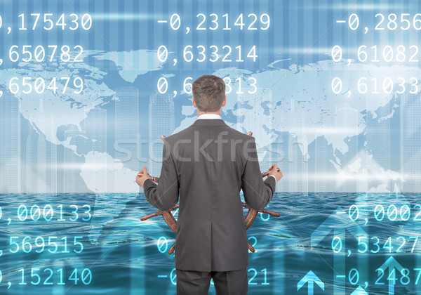Man stuur achteraanzicht zakenman abstract Stockfoto © cherezoff