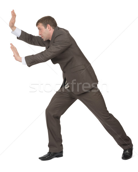 Businessman pushing empty space Stock photo © cherezoff
