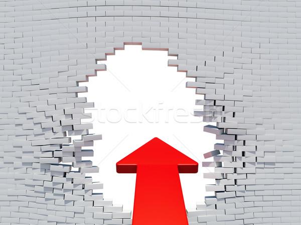 Wall crash red arrow with white hole Stock photo © cherezoff