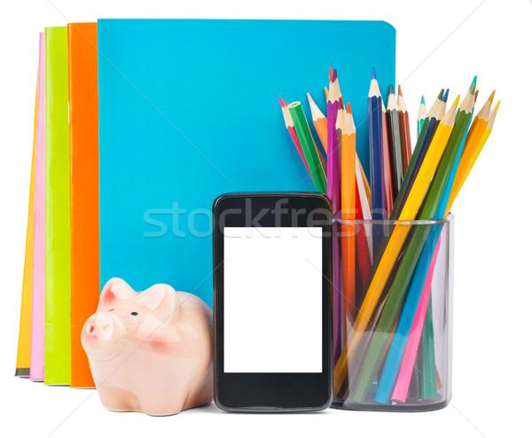 Artigos de papelaria tela isolado branco dinheiro Foto stock © cherezoff