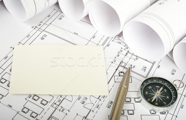 Carte vierge stylo plan boussole vue de côté bâtiments Photo stock © cherezoff