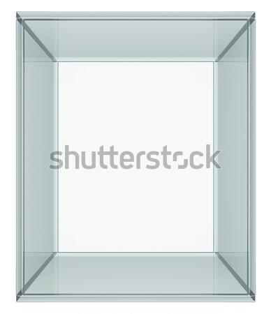 Empty Glass Cube isolated on white Stock photo © cherezoff