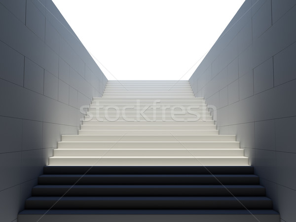 Stockfoto: Lege · witte · trap · voetganger · metro · 3D
