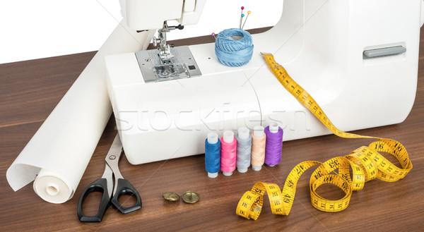Dikiş makinesi ahşap masa atölye iş Stok fotoğraf © cherezoff