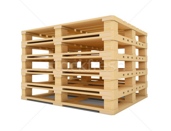 Wooden euro pallets isolated on white background Stock photo © cherezoff