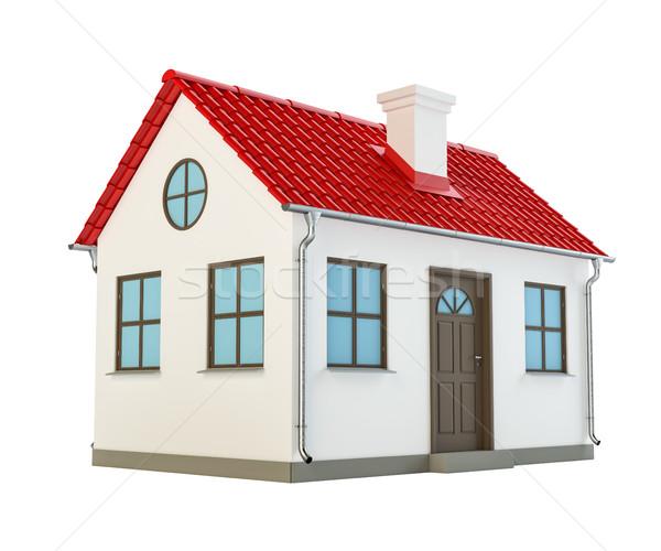 Serin ayrıntılı ev 3d illustration yalıtılmış beyaz Stok fotoğraf © cherezoff