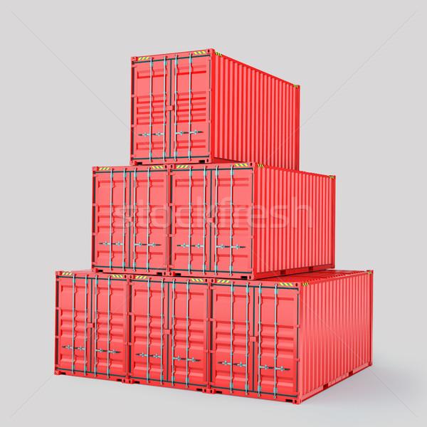Ingesteld vracht 3D container levering Stockfoto © cherezoff