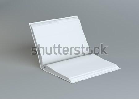 Witte lege Open boek grijs sjabloon inhoud Stockfoto © cherezoff