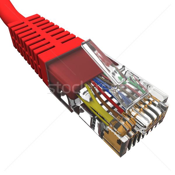 Сток-фото: красный · шнура · белый · технологий · цифровой · данные