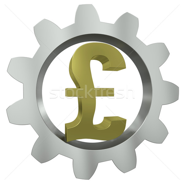 The GBP sign in a metal gear Stock photo © cherezoff