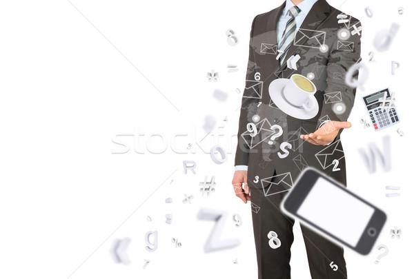 Adam takım elbise ofis işleri el ofis nesneler Stok fotoğraf © cherezoff