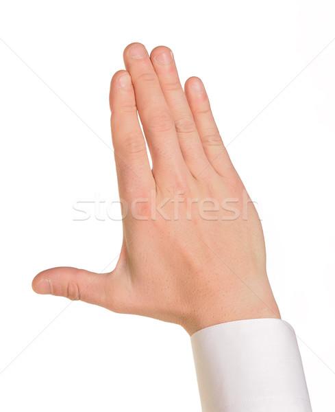 Caucasian male hand in a shirt Stock photo © cherezoff