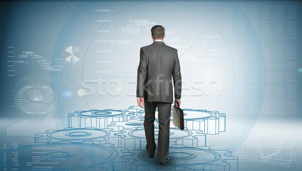 Empresário terno pasta para a frente Foto stock © cherezoff
