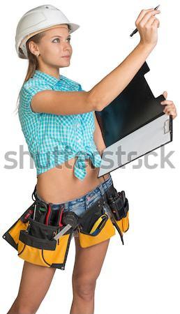 Stockfoto: Mooi · meisje · witte · helm · papier · pen