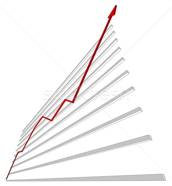 Diagrama rojo curva aislado blanco fondo Foto stock © cherezoff