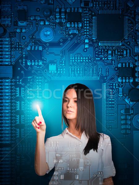 üzletasszony kisajtolás holografikus képernyő absztrakt alaplap Stock fotó © cherezoff