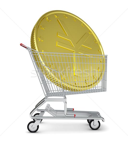 Altın yen alışveriş sepeti yalıtılmış beyaz alışveriş Stok fotoğraf © cherezoff