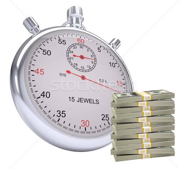 Timer with stack of money Stock photo © cherezoff
