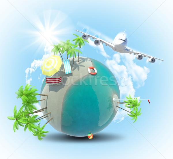 Jet flying near Earth with palms Stock photo © cherezoff