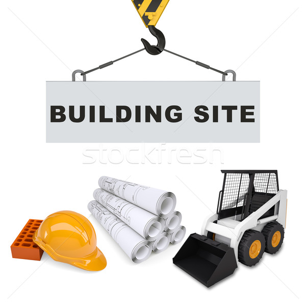 Building crane with digger and helmet Stock photo © cherezoff