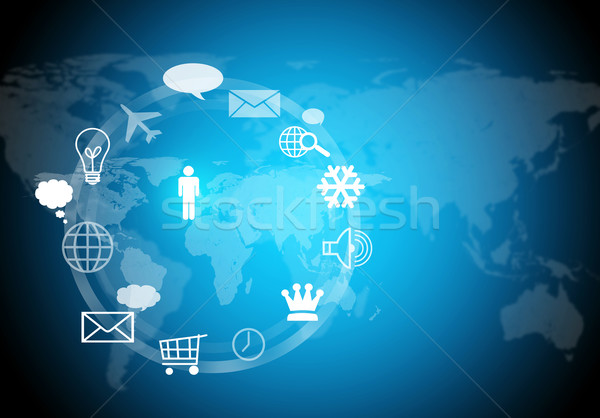 World map with computer icons Stock photo © cherezoff