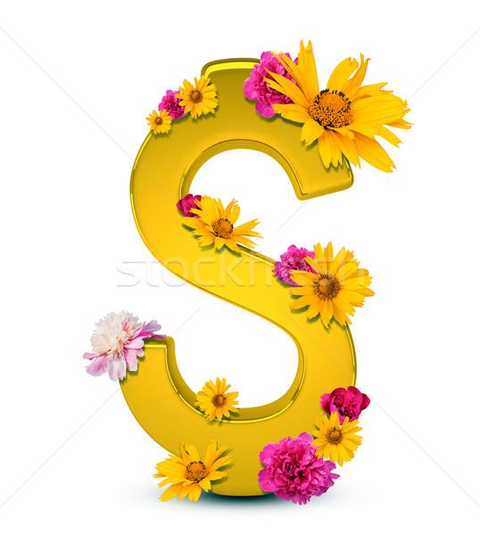 Altın dolar işareti çiçekler yalıtılmış beyaz 3d illustration Stok fotoğraf © cherezoff