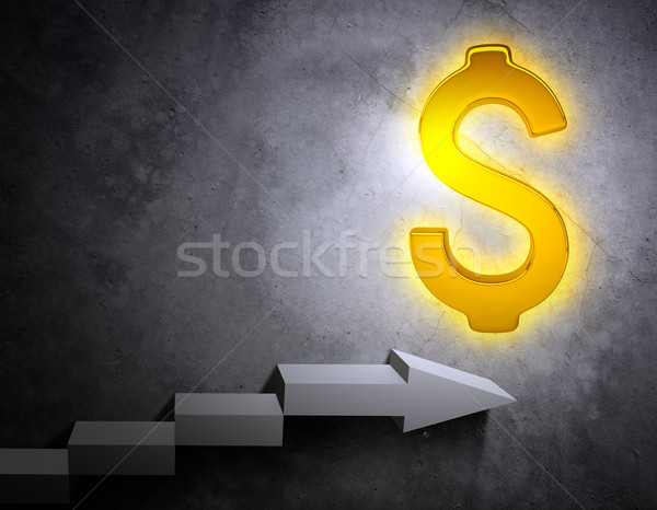 Stairs leading to golden dollar sign Stock photo © cherezoff