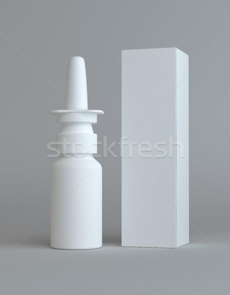 Spray nasal plastic bottle and tall paper box Stock photo © cherezoff