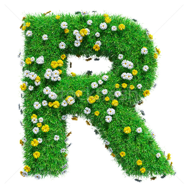 Letter R Of Green Grass And Flowers Stock photo © cherezoff